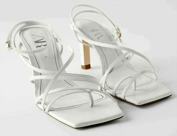 Sandalias tacon doble X en blanco